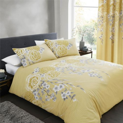 Catherine Lansfield Oriental Blossom Yellow Bedding Set